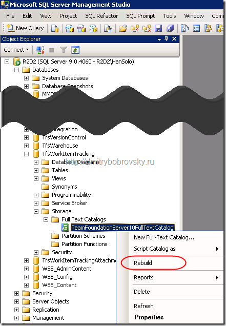 How to: Rebuild a Full-Text Catalog (SQL Server Management Studio).